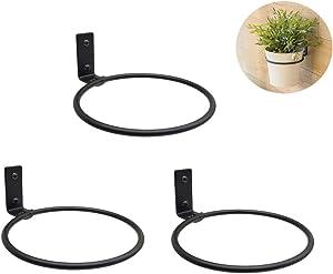 3 Packs Black Metal Wall Mounted Flower Pot Ring Wall Bracket Pot Holder (L)