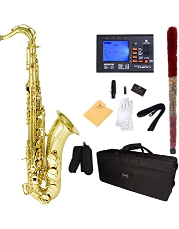 Mendini by Cecilio MTS-L+92D Gold Lacquer B Flat Tenor Saxophone with Tuner