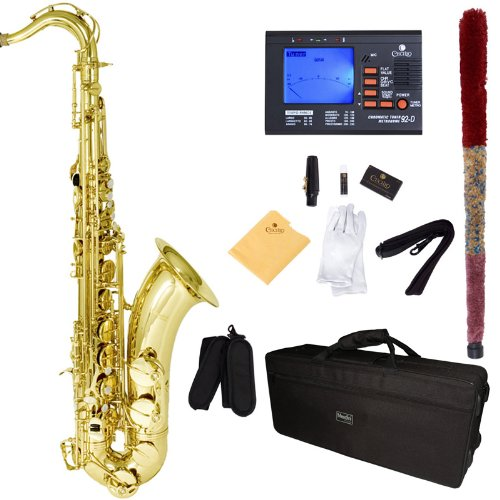 Mendini by Cecilio MTS-L+92D Gold Lacquer B Flat Tenor Saxophone with Tuner, Case, Mouthpiece, 10 Reeds and More