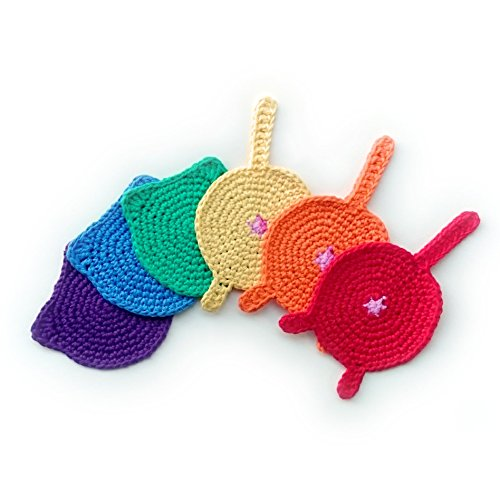 Handmade rainbow cat butt and ears crochet coasters (Set of 6)