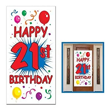 HAPPY 21st BIRTHDAY Party DOOR COVER Banner DECOR DECORATIONS 30quot X 60quot Twenty