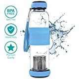 Hi Life Ph Glass high Ph Filtered Water Bottle- Alkaline Antioxidant Water with Silicone Sleeve Grip (550ml, Increases pH up to 9+) (Blue)