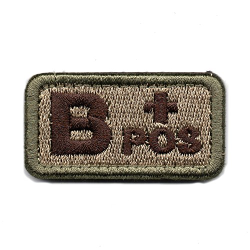 Tactical Blood Type B+ Positive POS Hook and Loop Patch Embroidered Morale Military Badge for Outdoors (Coyote Brown B+)