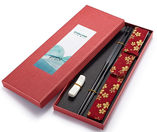 Chopsticks Reusable Chinese Natural Wood with Rest and Bag Gift Set Unique Design the God of Longevity by ZomChain(1 pair)