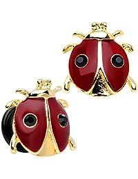Body Candy Stainless Steel Red and Black Ladybug Single Flare Ear Gauge Plug Set 00 Gauge