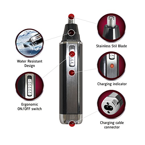 Price comparison product image Nose Hair & Ear Trimmer - 2 in 1 - Rechargeable Heavy Duty - Beard Trimmer - Easy Cleaning & Water Resistant - Eyebrow Trimmer Kit - For Men & Woman - Stainless Steel Blades - For Home Use