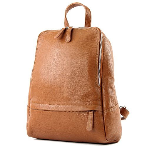 Backpack de Ladies Leather Backpack Cognac Leather ital T138 Rucksack Bag modamoda Citybag tTdqw11