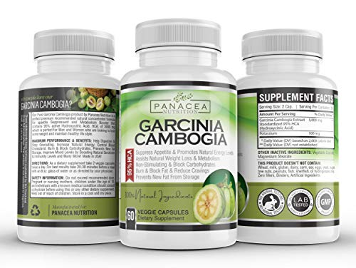 100% Garcinia Cambogia Pure Extract 95% HCA Best Natural Appetite Suppressant & Weight Loss Supplement 60 Veggie Caps Fast Blocker & Burn Fat Curbs Boost Metabolism Supports Diet Money Back Guarantee