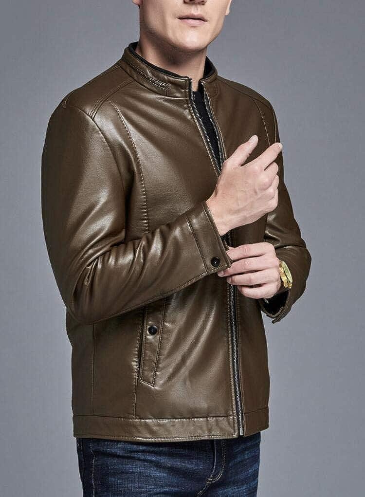 SHUQI Mens Business Plus Velvet Leather Jacket Slim Collar Jacket