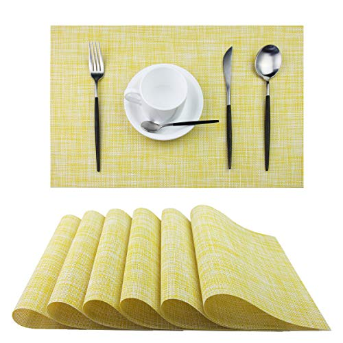 (Pigchcy Placemats,Washable Vinyl Woven Table Mats Elegant Placemats for Dining Table Set of 6 (Yellow))
