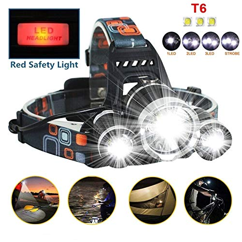 Best Led Headlamp Flashlight 10000 LM - New 2019 Bright Headlight Hard Hat Light Head Lamp Rechargeable Helmetlight with Improved CREE Led Waterproof 4 Modes for Camping Outdoor Security Light(Silver) (Best Headlamp For Hiking 2019)
