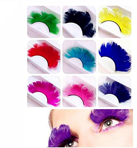 MeiQing 9 Pairs Colorful False Eyelashes Long Feather Eyelashes Costume Cosplay Stage Makeup Exaggerate False Eyelashes -