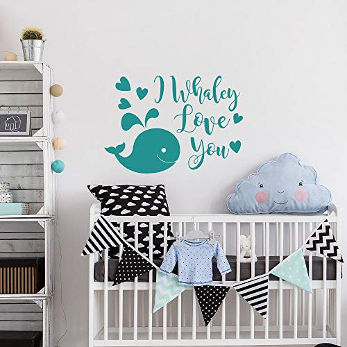 AmericanVinyl Nursery Wall Decal I Whaley Love You Funny Baby Decor - Whale Wall Decal for Kids - Baby Nursery Decor - Nautical Nursery Wall Decal -