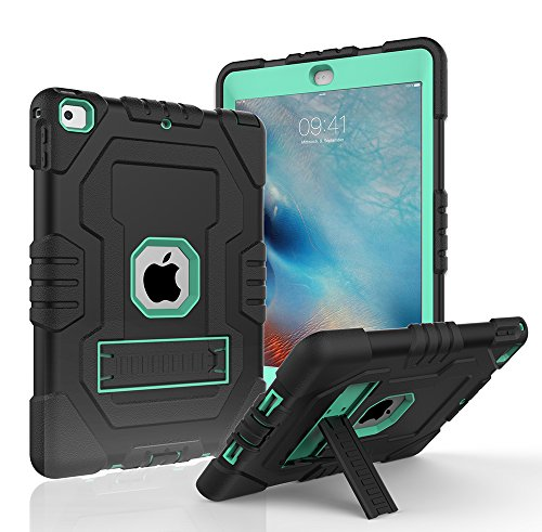 Digital Hutty 3 in 1 Shockproof Heavy Duty Full-Body Protective Cover with Kickstand for Apple New iPad 9.7 Inch 2017 Release Black