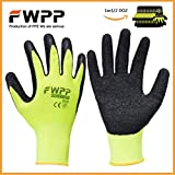 FWPP High Visibility Work Gloves for General Purpose, Wrinkle Double Textured Latex Coated Work Gloves, Garden Gloves,Work Gloves,Medium,Large,Extra-large,6 Paris,12 Pairs (Large-12Paris)