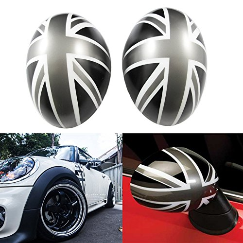 (Xotic Tech Union Jack Manual Side Mirror Covers Caps for Mini Cooper Driver/Passenger Side (for NOT Auto Power Folding Mirrors, Black/Grey) )