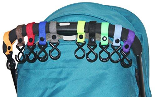HIG Stroller Hook - 10 Pack of Multi Purpose Hooks - Hanger for Baby Diaper Bags, Groceries, Clothing, Purse