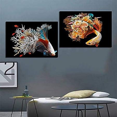 YuanMinglu Flor de Pescado, Algas, Animales, póster, Lienzo, Pintura, póster e Impresiones, decoración de la Sala, Arte de la Pared, Pintura sin Marco, 50x70 cm