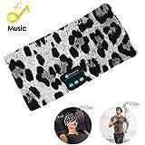 Bluetooth Headband Headphones, Wireless Bluetooth Sleeping Running Music Earphones Headband Sports Headset Built-in Speakers Microphone for Calling, Workout, Crossfit, Yoga, Jogging, Leopard-Gray
