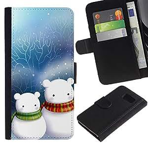 LASTONE PHONE CASE / Lujo Billetera de Cuero Caso del tirón Titular de la tarjeta Flip Carcasa Funda para Samsung Galaxy S6 SM-G920 / Cute Snow Couple