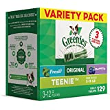 Greenies Teenie Dog Dental Chews, 3-Flavor Variety Pack, 36 Oz. (129 Treats), Makes A Great Holiday Gift For Dogs