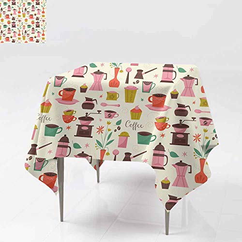 AFGG Waterproof Table Cover,Seamless Pattern with Coffee Cups and Coffee Grinder,Great for Buffet Table, Parties& More 60x60 Inch