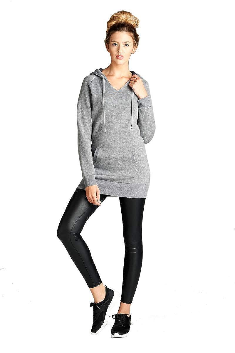 NANAVA Womens Basic Raglan Long Sleeve V-Neck Drawstring Hoodie Sweatshirt