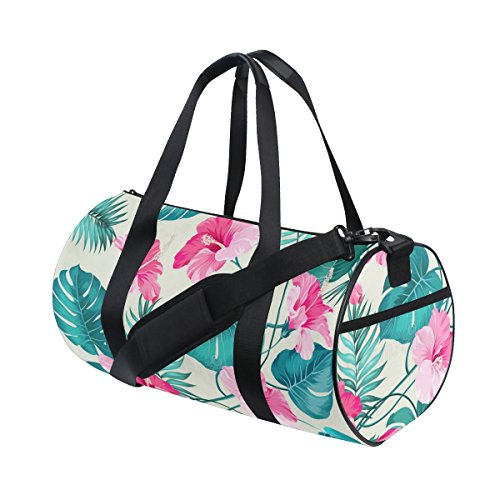 OuLian Duffel Bag Tropical Flower Pattern Women Garment Gym Tote Bag Best Sports Bag for (Boyt Garment Bag)