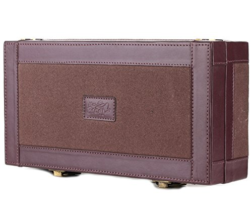 (Leather Cigar Humidor Case Cedar Wood Box - Oil Pull-up + Canvas Leather - [Dark Brown+Light Brown] )
