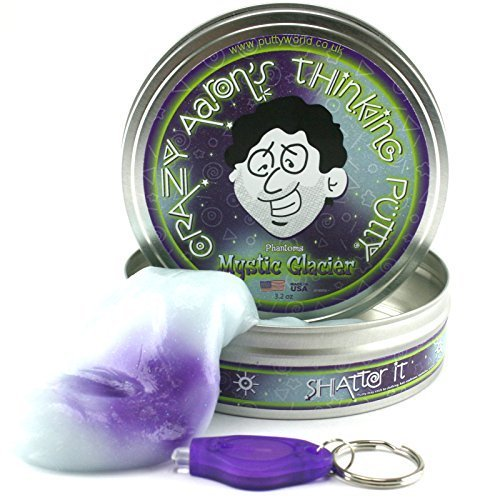 Crazy Aarons Thinking Putty 10cm Large Tin UV Reactive Phantom Mystic Glacier by crazy aaron's thinking putty by Crazy Aaron's