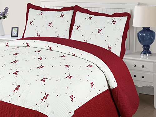 Empire Home Xenia 3PC Quilted / Embroidered Oversized Bedspread (Burgundy, Queen Size)