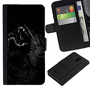 Billetera de Cuero Caso Titular de la tarjeta Carcasa Funda para Samsung Galaxy S5 Mini, SM-G800, NOT S5 REGULAR! / Werewolf Black Night Howl Dog / STRONG