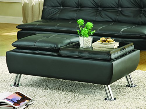 Dilleston Faux Leather Storage Ottoman with Reversible Tray Tops Black