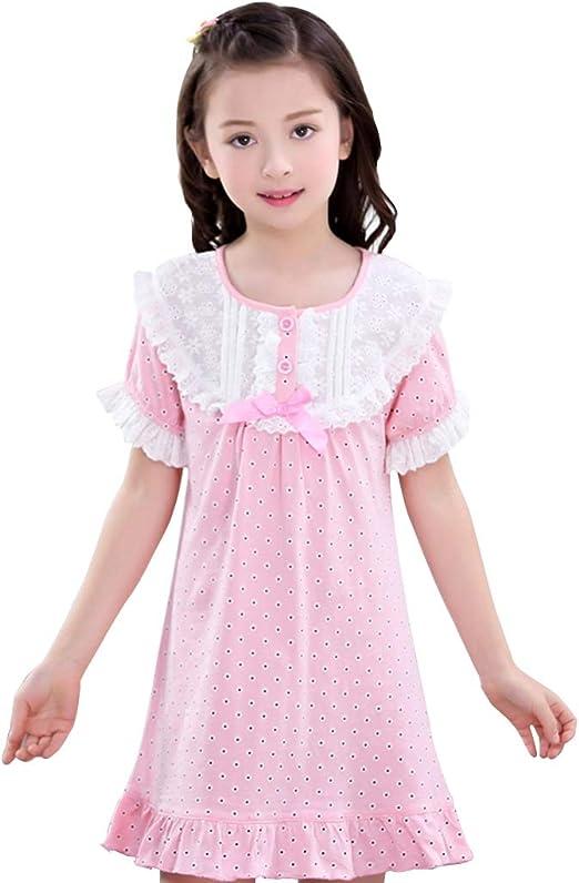 Camisones Niñas Pijamas De Algodón Manga Corta para Niñas Pantalones Cortos para Niños Verano Servicio En Casa Se Puede Usar Afuera (Color : Pink, Size : 100cm): Amazon.es: Hogar