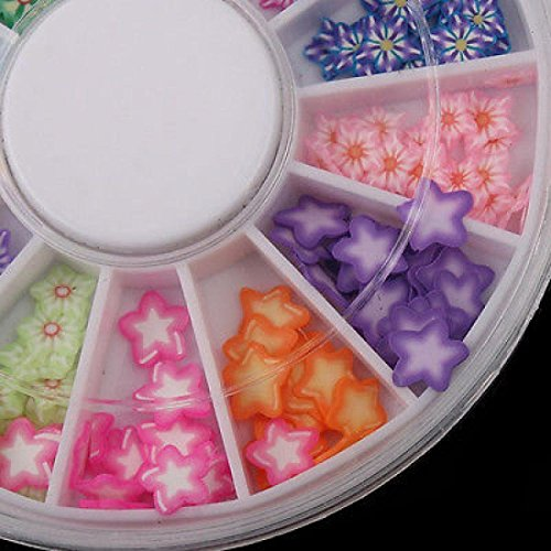 Rhinestones 3D Mixed Glitter Tips Nail Art Random Mixed 120pcs Slice Patterns Five Pointed Star