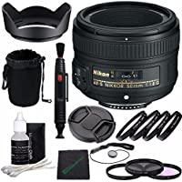NikonAF-S NIKKOR 50mm f/1.8G Lens + 58mm 3 Piece Filter Set (UV, CPL, FL) + 58mm +1 +2 +4 +10 Close-Up Macro Filter Set with Pouch + Lens Cap + Lens Hood + Lens Cleaning Pen Bundle