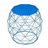 Adeco Home Garden Accents Wire Round Iron Metal Stool Side End Table Plant Stand Chair Hatched Diamond Pattern, Sea Blue