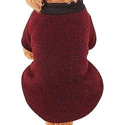 Farjing Pet Dog Sweater,Warm Puppy Sweater Fleece Sweater Clothes (M,Wine Red