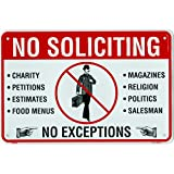 No Soliciting Sign, Metal Yard Sign For House, Home or Business, 8 x 12 Inch Rust Free Aluminum, Easy Mount On Door, Fence, Gate or Building