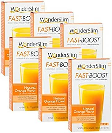 FAST BOOST Thermogenic Energy Boosting Powder Drink Mix by WonderSlim - Antioxidant Drink Mix - With Green Tea, Ginseng, Quercetin and Gingko Biloba – Natural Orange Flavor - 6 Boxes (Save 15%)