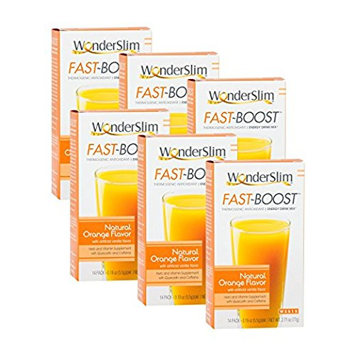 (FAST BOOST Thermogenic Energy Boosting Powder Drink Mix by WonderSlim - Antioxidant Drink Mix - With Green Tea, Ginseng, Quercetin and Gingko Biloba – Natural Orange Flavor - 6 Boxes)
