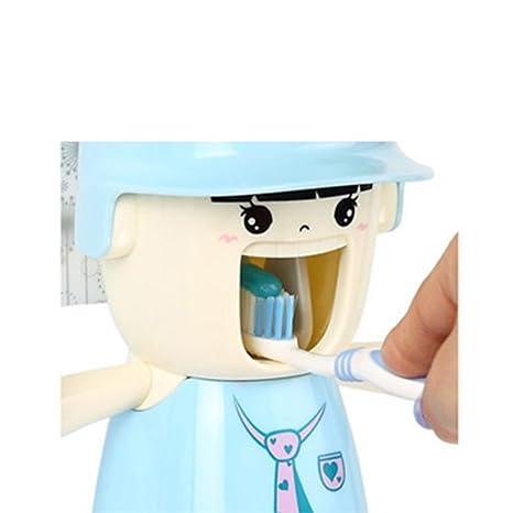 iikids Copas de dibujos animados Pasta de dientes automático dispensador Exprimidor Con cepillo de dientes titular