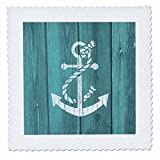 3dRose Cracked White Painted Anchor on Blue Background- not real wood - Quilt Square, 12 by 12-inch (qs_220433_4)