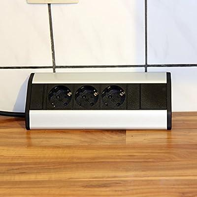 Mesa enchufe 3 aluminio esquina enchufe Cocina enchufe regleta enchufe Element – Fregadero enchufe enchufe: Amazon.es: Bricolaje y herramientas