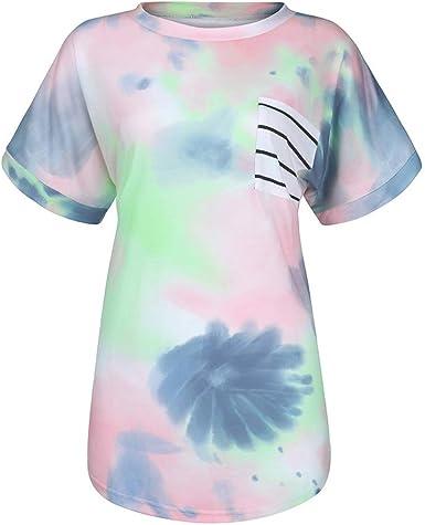 ZFQQ 2020 Camisa de Mujer Nueva Camiseta con Efecto Tie-Dye y ...