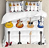 Extra Wide King Size Comforters Guitar Duvet Cover Set King Size, A Wide Variety of String Instruments Realistic Musical Pattern Jazz Blues Acoustic,Lightweight Microfiber Duvet Cover Sets, Multicolor
