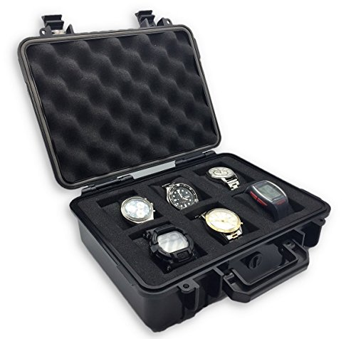 ModernGen 6 Slot Watch Box Case - Heavy Duty Plastic Impact Resistant Waterproof (Plastic Case Watch)