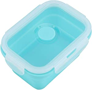 4 Size Silicone Collapsible Portable Lunch Box Bowl Bento Boxes Eco-Friendly Folding Food Container Lunchbox 350/500/800/1200ml(Green 350ml)