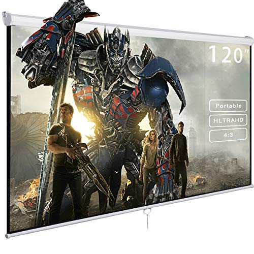 - Safeplus Manual Pull Down Projection Screen with Auto-lock, Wall & Ceiling Installation Home Theater Office Presentation 4:3 Projector Screen Square 96