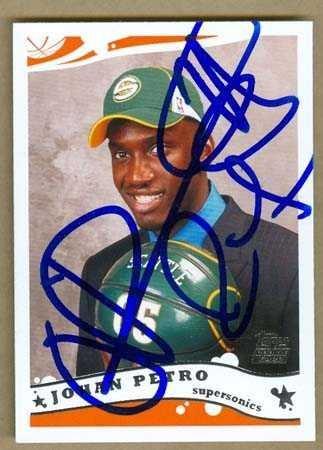 Johan Petro Autographed Basketball Card  Seattle Sonics  2005 Topps  245   Autographed Basketball Cards